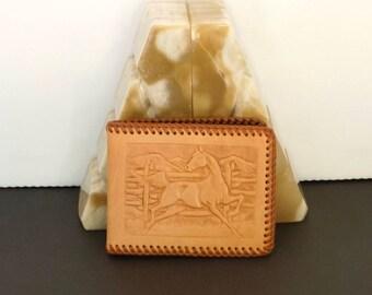 vintage men's tooled leather wallet western handmade un-used