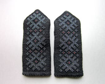 Black Wool Mittens Women Mittens Winter Mittens Womens Gifts Double Mittens Warms Mittens Fingerless Hand Knit Mittens