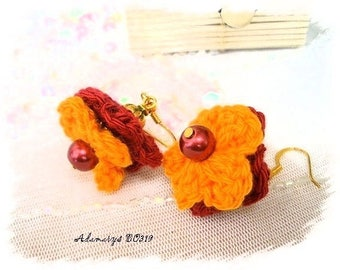 Knit orange and red flower earrings * Adamarys BO319 *.
