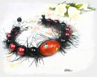 Bracelet braided shamballa fur black BR647