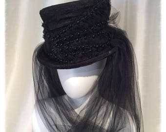 Victorian Gothic Black Lace and Tulle Top Hat