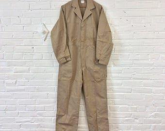 Vintage 1950s NOS Men's Tan HBT Coveralls. Size 38