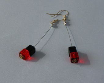 """Earrings """"CUBES"""" long red and black"""