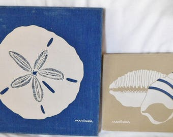 2 vintage MARUSHKA sea shell screen prints framed