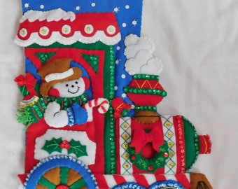 Bucilla Felt Stocking ALL ABOARD completed