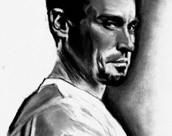 Original A4 charcoal drawing of Robert Knepper