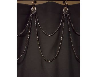 Beaded Shower Curtain Accent...Double Swag....Glass Beads