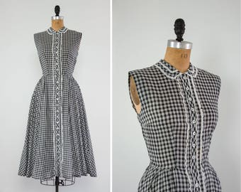 vintage 50s gingham dress women   1950s cotton dress   50s summer day dress