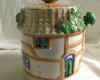 Country Cottage Biscuit Barrel Cookie Jar