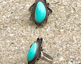 old pawn Native American sterling silver turquoise vintage southwestern Navajo boho ring size 6.25