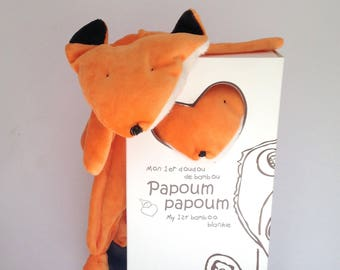 Red fox blanket/ bamboo blanket Papoumpapoum, fox baby blankie