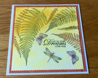 Handmade stamped and coloured greetings card