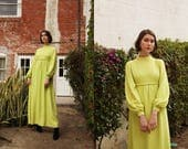 Vintage 1960s Chartreuse Crepe Bishop Sleeve Dress Hostess Gown with Mock Neck and Braided Belt Detail size Small Medium