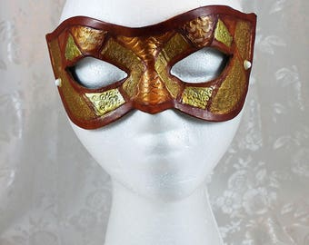 Tooled Leather Masquerade Masks, Gold Bronze Brown Diamond Pattern Leather Mask, Renaissance Fair Leather Mask
