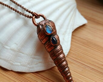 Copper Electroformed Seashell Pendant Necklace with Rainbow Moonstone and Iolite