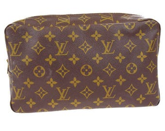 Authentic Vintage Louis Vuitton Monogram Canvas Leather Trousse Toilette 28 Pouch