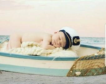Newborn Sailor Set - Crochet Sailor Hat - Newborn Photo Outfit - Sea Captain Hat - Baby Shower Gift - Navy Baby Outfit