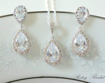 Weddings Crystal Bridal Earrings, Bridal Jewelry SET, Wedding Jewelry for Brides, Wedding Jewelry Set, Bridesmaid Jewelry Set,  Bridal Set