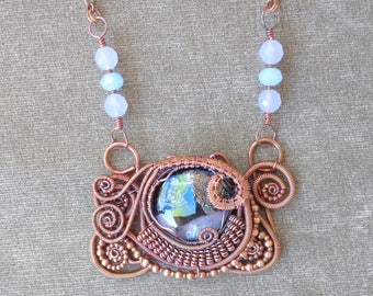 Statement Necklace featuring a Fused Glass and Copper Wire Worked Pendant