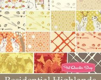 Residential Highlands by Violet Craft for Michael Miller Fabrics, Precut, 5 Inch Squares, Citrus, Warm Tones, Cat Fabric