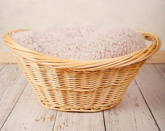 Digital Backdrop, white wooden floor and baby basket with fluffy fur.
