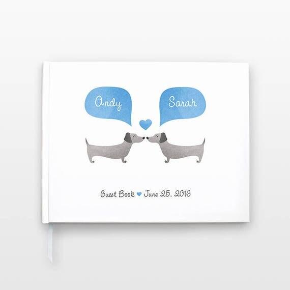 Dachshund Wiener Dog Wedding Guestbook, Unique Wedding Guest Book, Animal Wedding Gift, Hardcover Personalized Journal, Couple Notebook