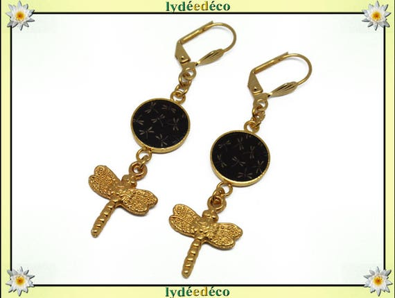 Earrings Dragonfly brass gold 24 carat 24 k Japan: seigaiha brown beige black resin