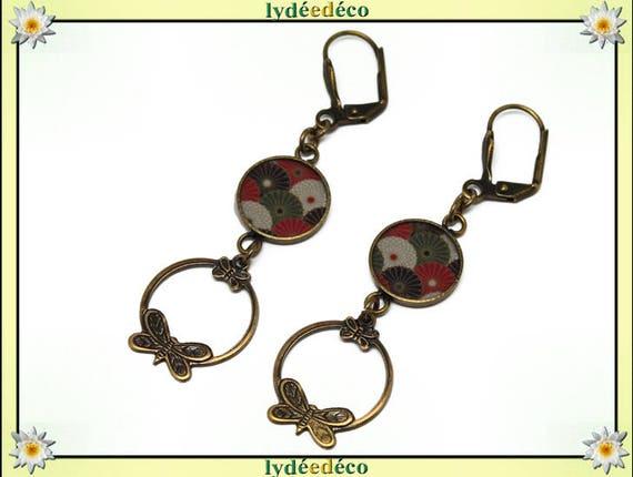 Japan black red green white resin pendants print brass fan earrings creole butterflies