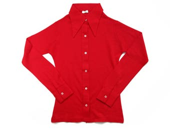 Deadstock vintage 70s bright red polo shirt pointy collar size 12 years