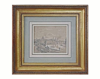 Castell Elbe Dresden Drawing signed dated 1858 - 19th Century, Germany