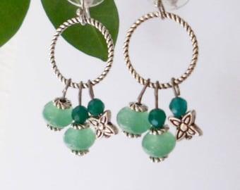 Bohemian earrings aventurine and green beryl