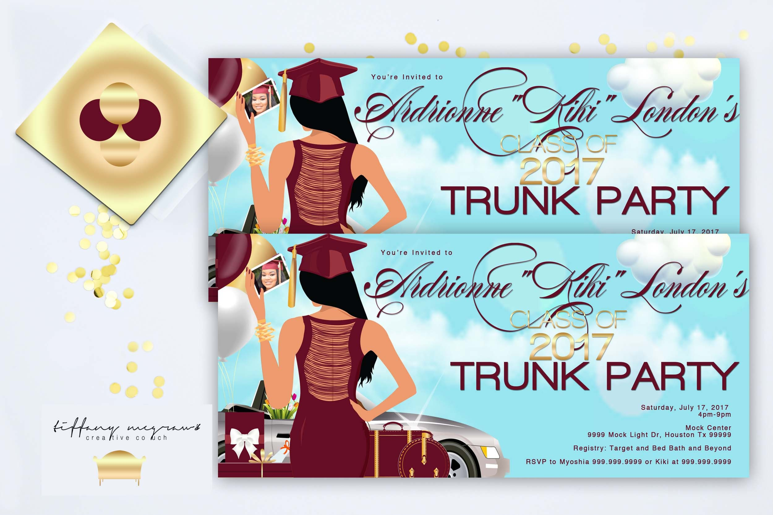selfie inspired trunk party invite