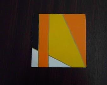 Yellow #1, Mini Geo Acrylic Painting, 6x6, Unframed