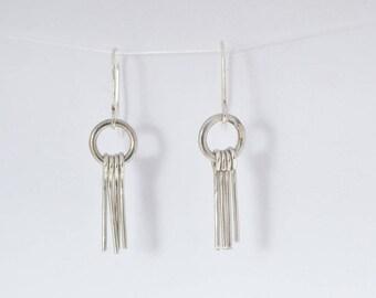 Small Silver Fringe Earrings|Dangle Earrings|Silver Earrings|Silver Wire|Small Earrings.