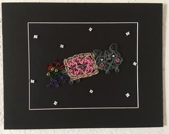 Nyan Cat quilled and in matte black frame