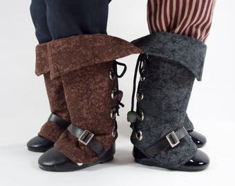 "Pirate boot spats for 18"" dolls, Black or Brown cuffed shoe covers, gaiters. Muskateer, cavalry, steampunk costume. Thigh high boot covers."