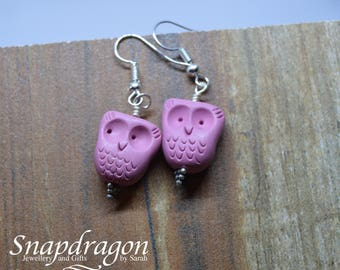 Pink clay handmade owl earrings