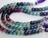Multi Color Natural FLUORITE Faceted Box Shaped,7-8mm size,