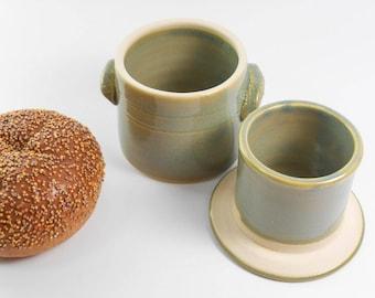 Green butter keeper - butter crock - pottery butter dish - French butter crock - butter saver S143
