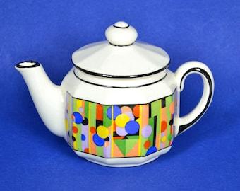 Art Deco Small Czech Tea Pot w Colorful Polka Dots, Vintage Individual Ceramic Tea Pot / Creamer, Made in 1930s Czecho-Slovakia