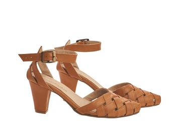 Brown heeled Sandals with a side buckle, Caramel brown, Rose, handmade leather sandals