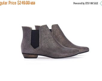 CIJ SALE Ellie Silver Leather Ankle boots with stretch side panel  by Tamar Shalem