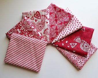 North Woods Red Fat Quarter bundle - Kate Spain - Moda (7 prints, 1.75 yards total)