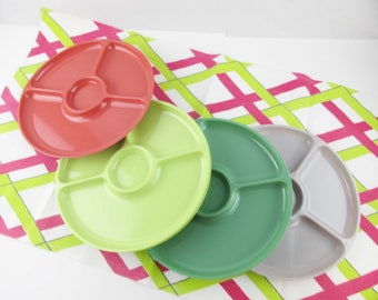 Bright Melon, Lime Green, Sage Green and Grey Plastic Picnic Plates - Ready to Use - Six Sectioned Plates - Divided Plates - Useful