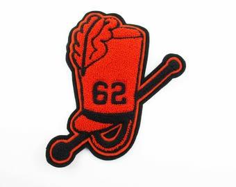Chenille 'Drum Major' Patch in Dark Orange on Black Felt - Classic Letter - '62' - Letterman Patch - Old School - Jacket, Vest, Blanket, Bag