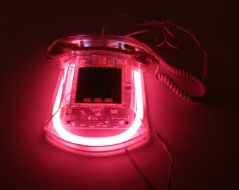 Pink Telephone by 'Roxanne' - Pink Neon Light in Clear Shell - Hong Kong - Working Condition - Tech Savvy Phone - Pink Bedroom Phone