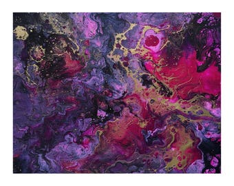 Pink, Purple, and Gold | Abstract Art | Fluid Painting | Canvas Board | 10x8""