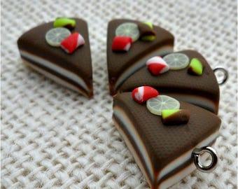 1 pendant type Bavarian chocolate cake and cream white polymer fimo