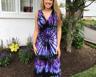 Tye dye dress, hand dyed dress, twisted front tee dress, cotton tie dye tank dress, purple tie dye dress