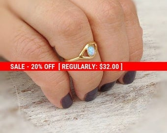 SALE 20% OFF Evil eye ring, gold ring, stacking ring, eye, evil eye jewelry, opal stone,gift for her -10028